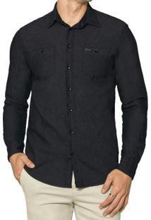 Camisa Jeans Com Elastano Preto