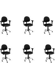 Conjunto 6 Cadeiras De Escritório Diretor Giratória Executiva Preto