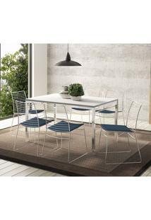 Conjunto Mesa 1526 Branca Cromada Com 6 Cadeiras 1712 Azul Noturno Carraro