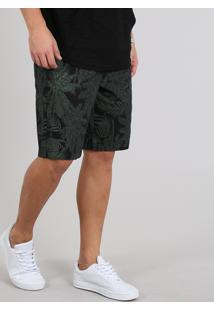 Bermuda De Sarja Masculina Estampada Tropical Com Bolsos Preta