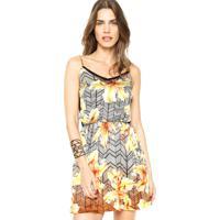 ecb2c73998 Dafiti. Vestido Dafiti Ontrend Estampado Renda Multicolorido