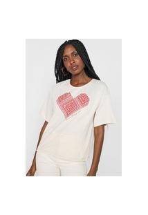Camiseta Lança Perfume Coração Bege