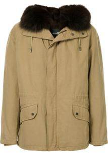 Yves Salomon Fur Hooded Coat - Marrom
