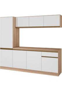 Cozinha Compacta C/ Tampo 2400 Pietra – Genialflex. - Castanho / Branco