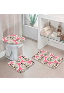Jogo Tapetes Para Banheiro Premium Rosa