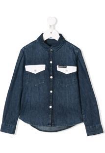 Calvin Klein Kids Camisa Jeans Com Contraste - Azul