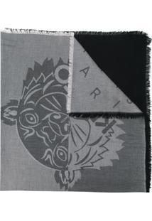 Kenzo Cachecol Com Logo Em Relevo - Preto