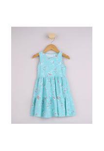 Vestido Infantil Estampado Arco Íris Alça Larga Azul