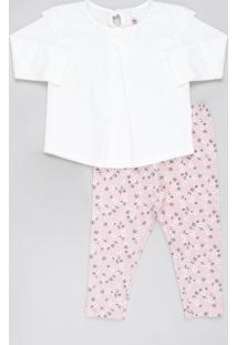 Conjunto Infantil De Blusa Com Laise Manga Longa Off White + Calça Legging Estampada Floral Rosa