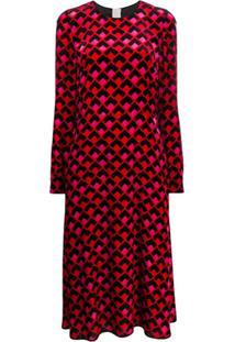 Rochas Vestido Midi De Veludo Com Estampa Geométrica - Vermelho