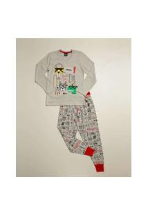 Pijama Infantil Manga Longa Estampada Tam 4 A 10