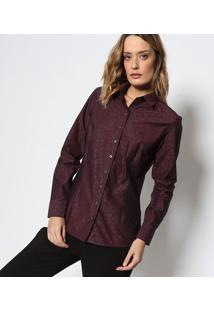 Camisa Em Algodão Egípcio Com Bordado - Vinho   Azuldudalina a1e800f455c23