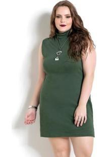 Vestido Verde Com Gola Rolê Quintess Plus Size