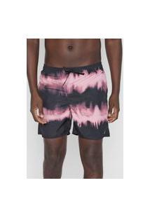 Bermuda Água Ride Skateboard Reta Tie Dye Stripes Preta/Rosa