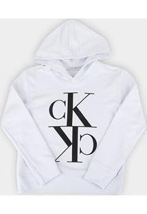 Moletom Infantil Calvin Klein Circular Masculino - Feminino-Branco