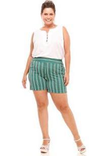Shorts Melinde Plus Size Brocado Listrado Feminino - Feminino-Verde