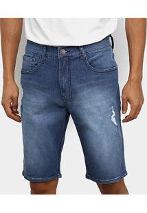 Bermuda Jeans Calvin Klein Destroyed Masculina - Masculino-Azul
