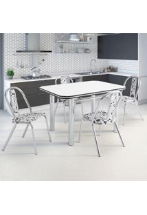 Conjunto De Mesa De Cozinha Com 4 Lugares Setúbal Corino Branco