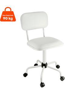 Cadeira De Escritório Secretária Color Fixa Corano Branco