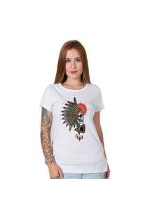 Camiseta Indian Chief Skull Branca Stoned