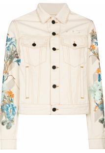 Off-White X Browns 50 Floral Print Detail Denim Jacket - 0310 Off White Cream