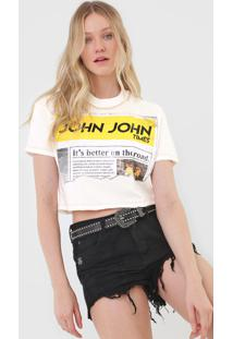 Camiseta Cropped John John Times Off-White