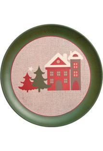 Prato Para Sobremesa Casinhas- Vermelho & Verde- Ø25Cromus