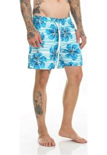 Bermuda Offert Beach Short Floral Masculina - Masculino-Azul