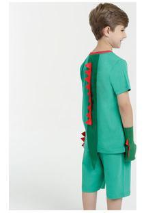 Pijama Infantil Dinossauro Brinde Luvas Manga Curta Marisa