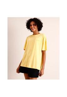 Camiseta Oversized De Algodão Hufflepuff Harry Potter Manga Curta Decote Redondo Amarela