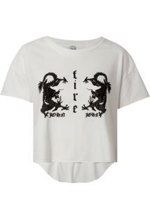 Camiseta John John Dragon Malha Algodão Off White Feminina (Off White, P)