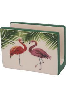 Porta Guardanapo Flamingo- Branco & Verde- 12X16X9Cmbtc Decor