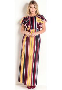 Vestido Longo Listrado Moda Evangélica