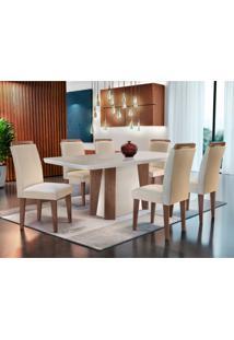 Conjunto De Mesa De Jantar Valença Com 6 Cadeiras Athenas Veludo Creme Com Café E Off White