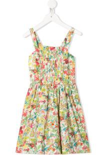 Bonpoint Vestido Evasê Com Estampa Floral - Verde