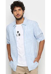 Camisa Osklen Striped Rough Manga Longa Masculina - Masculino-Azul+Bege