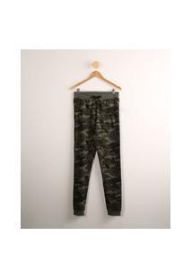 Calça Juvenil Jogger De Moletom Estampada Camuflada Verde Militar