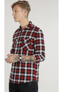Camisa Masculina Em Flanela Estampada Xadrez Com Bolsos Manga Longa Vermelha