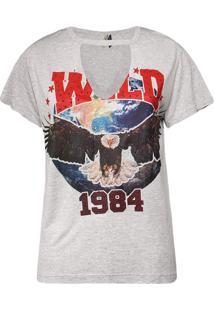 Camiseta Khelf Abertura V Decote Frente Mescla Cinza
