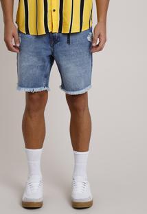 Bermuda Jeans Masculina Bbb Reta Com Rasgos E Corrente Azul Médio