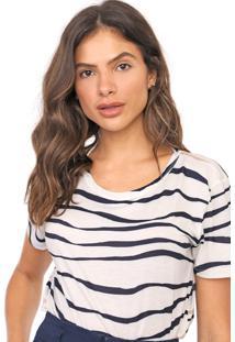 Camiseta Lança Perfume Listrada Off-White/Azul-Marinho