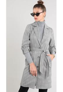 Casaco Trench Coat Feminino Longo Estampado Xadrez Com Faixa Para Amarrar Cinza Mescla