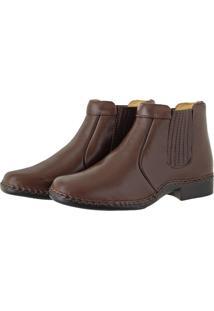 Bota Pessoni Boots & Shoes Social Lateral Em Elastico 100% Couro Marrom - Kanui
