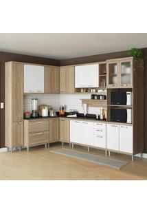 Cozinha Compacta Sicília 16 Portas C/ Tampo Pt E Vidro Branco/Argila - Multimóveis