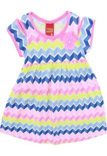 Vestido Infantil - Meia Malha - Geométrico - Azul - Kyly - 1