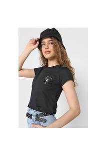 Camiseta Cropped Forever 21 Let It Bee Preta