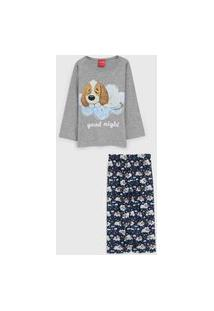 Pijama Tricae Longo Infantil Cachorrinho Cinza/Azul-Marinho