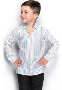 Camisa Social Juvenil Menino Manga Longa Listrada Casual