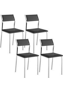 Cadeira 1709 Cromada 04 Unidades Preta Carraro