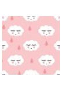 Papel De Parede Infantil Nuvens Com Gotinhas Rosa 2,70X0,57M